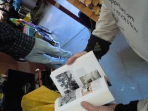 examining a book