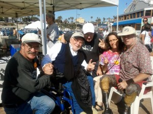 Brian Willson poses with Los Angeles veterans and friends